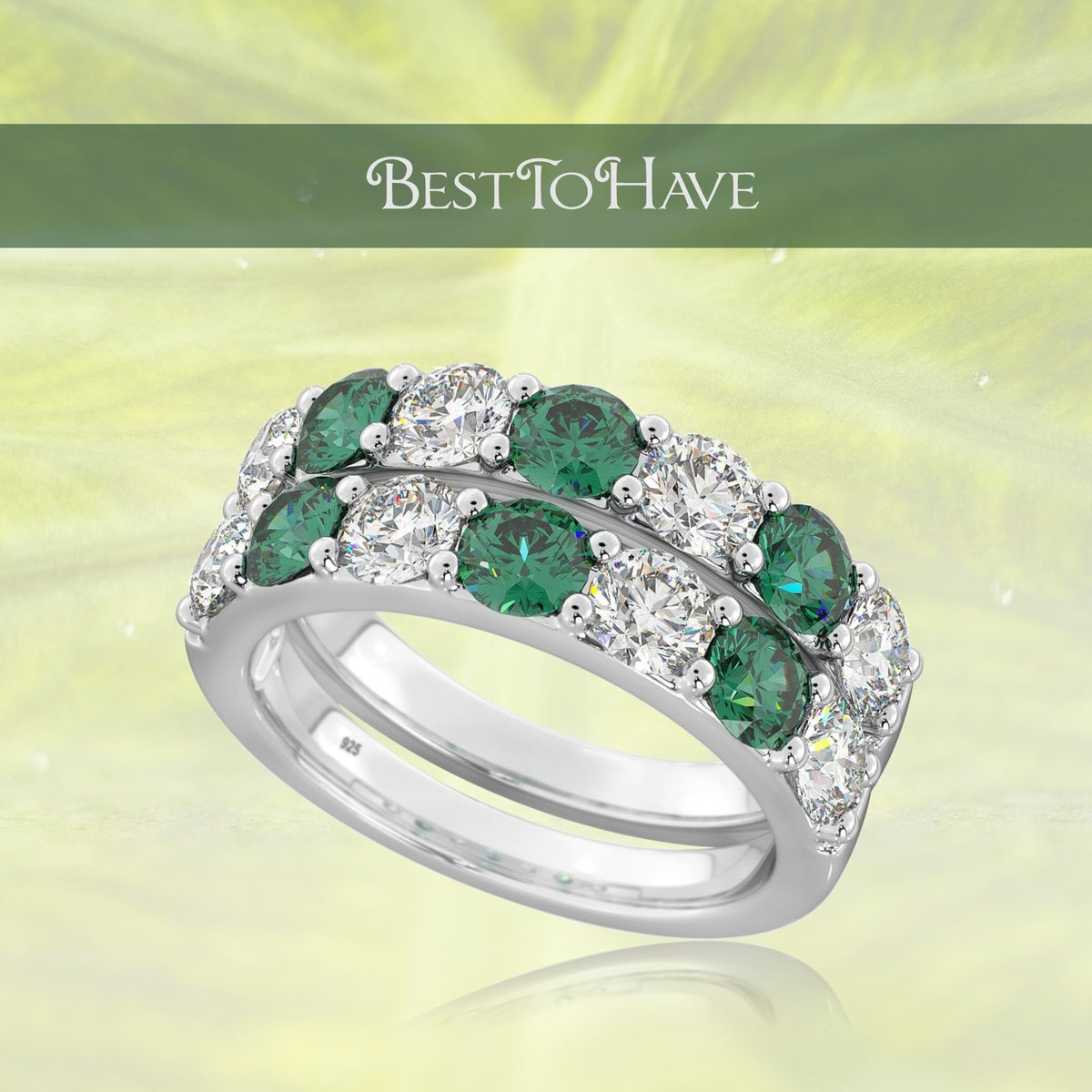 Double Delight Emerald Cubic Zirconia Silver Ring Set Code: 446 £29.99 Shop more:  #womenrings #weddingrings #lovejewelry #silverjewelry #sterlingsilver #cubiczirconia #besttohave #besttohavejewelry #silverring #zirconia #silver925 #engagement #wedding
