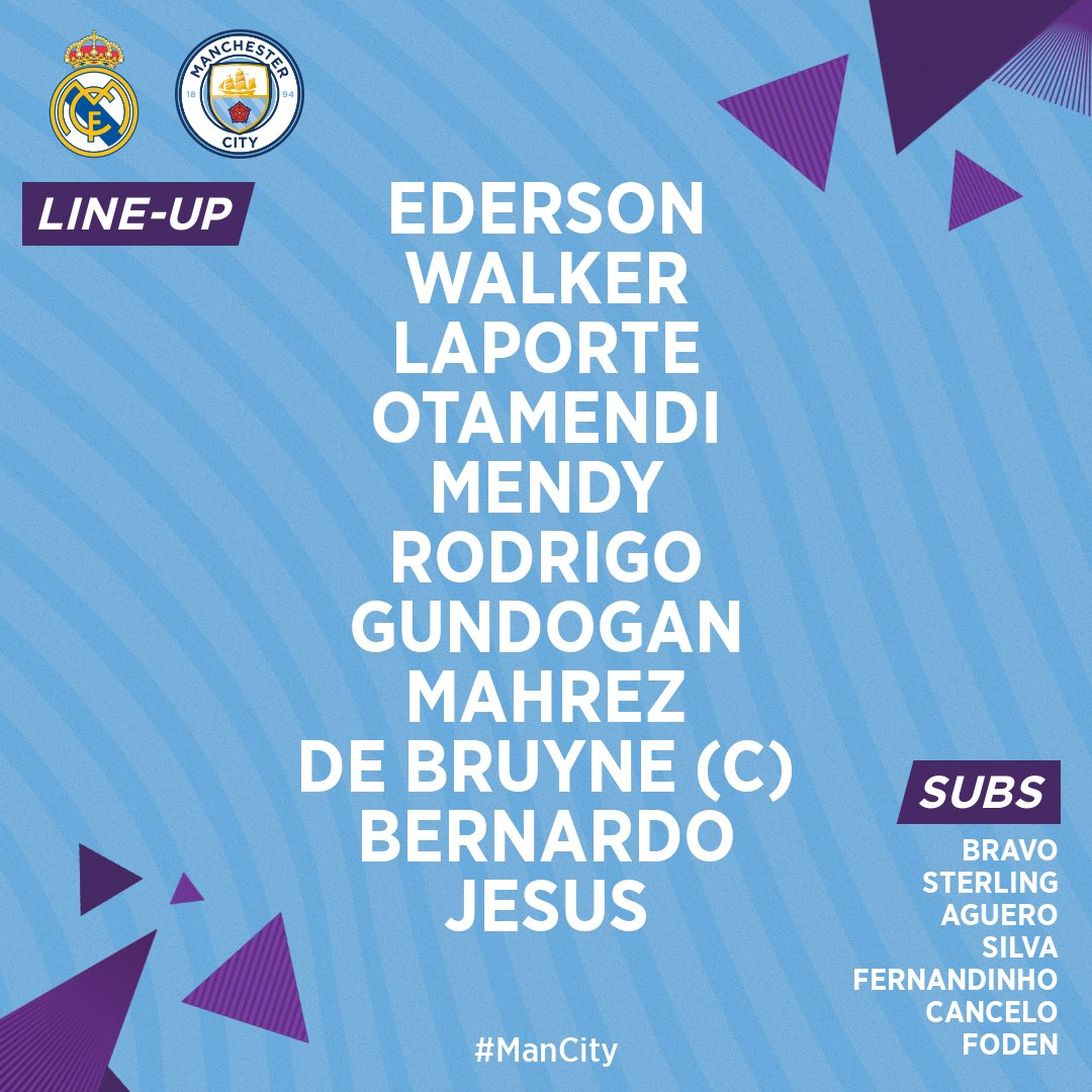 No Fernandinho & Aguero gives me heartburn.  Only rationale here is Pep views this as his best defensive lineup. Jesus provides more work rate than Aguero & Otamendi may be a bit better in the air against Madrid's preference to cross.  But Jesus has to take his chances today.