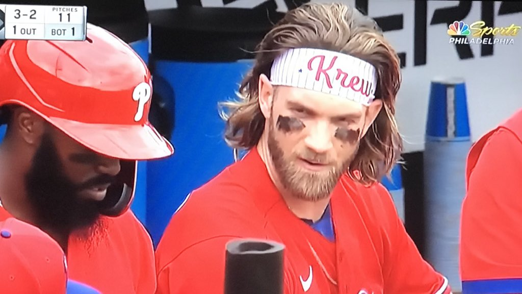 """Bryce Harper with the hair flow and his sons name on his headband  Bryce says he is very comfortable the spring  """"It's good knowing I'll be here the next 12 years. A lot more calm, not as crazy""""  #Phillies ⚾️☀️🌴"""