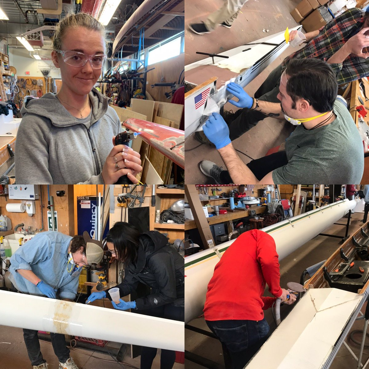 #SpringIsComing! How's your #FleetMaintenance going? Interested in learning how to repair your shells? Checkout the #2020Fellows as they #Torch, #Layup, and #Sand in CM540 Rigging and Fleet Maintenance class. Join them: http://bit.ly/irlatcri pic.twitter.com/ZUfGO514cr – at Community Rowing