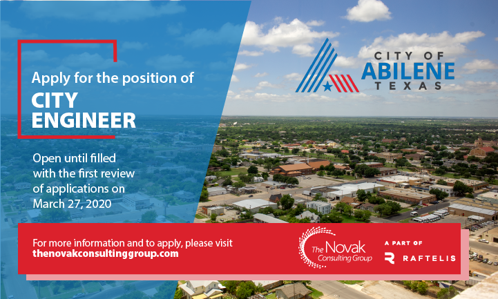 The @CityOfAbilene, TX, is seeking a City Engineer! This position leads a team of professionals, manages a multi-year capital improvement plan, street bond program, and high-profile development projects. Learn more here: https://bit.ly/39skoC1 .pic.twitter.com/D71yUwjtRI