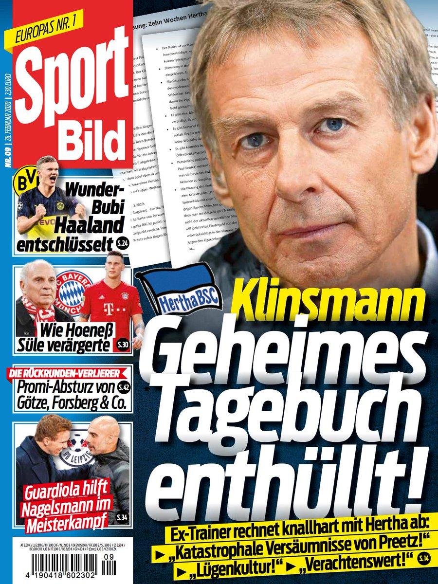"""Heute in der @Sportbild """"Geheime Klinsmann Tagebücher"""".  Ich zitiere: """"Heute vor dem Training Stuhlgang gehabt. Wenigstens das flutscht so richtig im Gegensatz zur lahmen alten Dame @HerthaBSC""""   Vermutlich gefälscht. Oder was meint @zwwdf?pic.twitter.com/c6GboMHqop"""