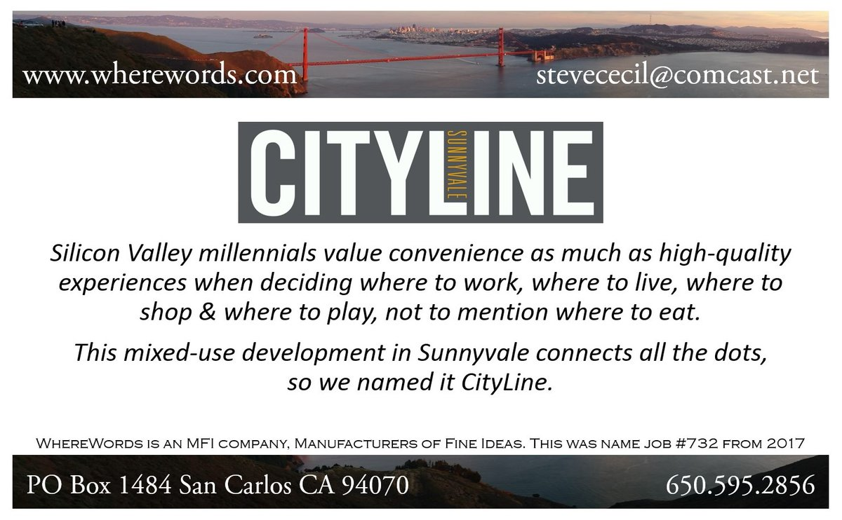 Compound naming for comport branding. This mixed-use development in Sunnyvale dominates the skyline on the mainline near the trainline, so we named it CityLine #naming #branding #trademarks #realestate #sowenamedit