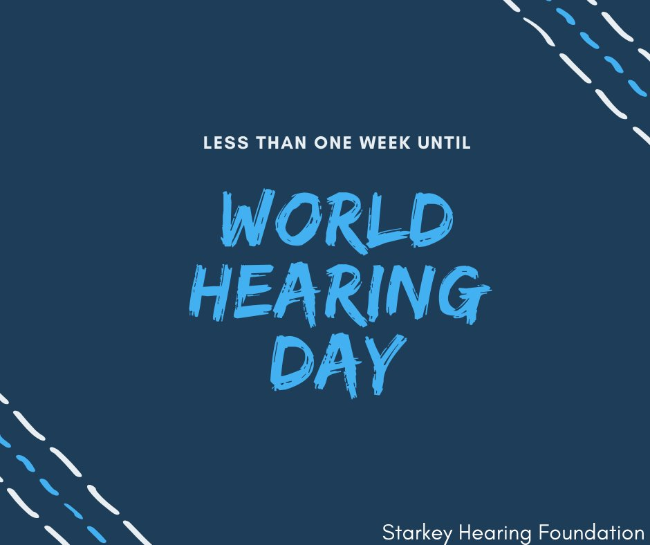 """#WorldHearingDay is less than one week away! This year's theme is """"Hearing for life: don't let hearing loss limit you."""" How are you going to help us spread awareness or make an impact? Support us by visiting https://starkey.foundation/WHD2020pic.twitter.com/NMiEbl6RWj"""