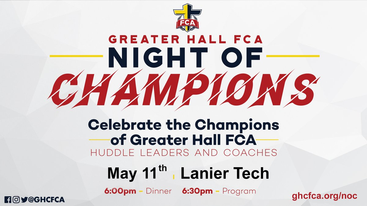SAVE THE DATE for @GHCFCA Night of Champions at @LanierTech on May 11! Celebrating the students and coaches who lead #FCA on their campuses! Champion Sponsorships are available at http://ghcfca.org/noc  #Champions4Christpic.twitter.com/AVkhrN6PZO