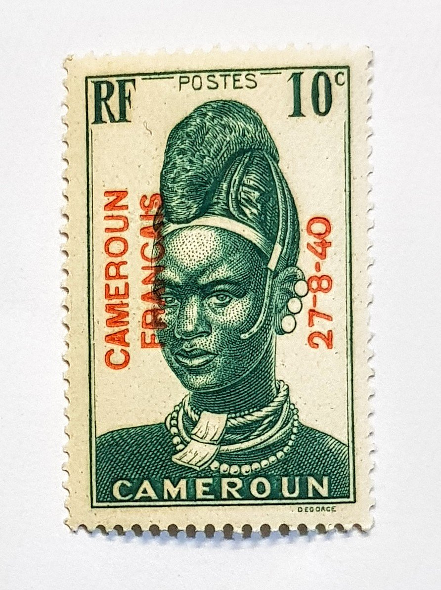 Here's a close-up of the 10c Cameroun Francais with bright red 27-8-40 overprint. I like this stamp. #philately <br>http://pic.twitter.com/gRfiC5Z6HP