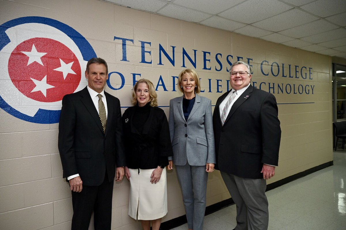 Educators across Tennessee are making great strides to increase access to CTE programs for our students. Great to have @BetsyDeVosED join us at @TCATNashville today to see firsthand the value of a high-quality industry credential.