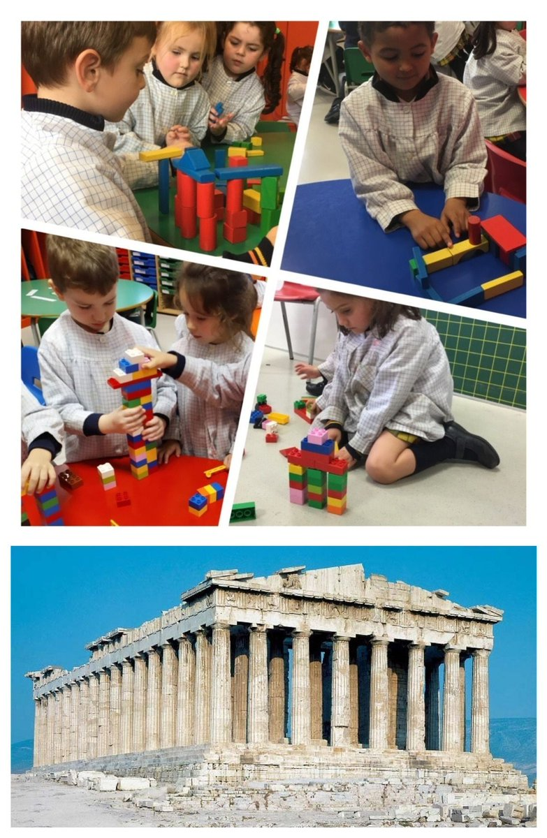 We are architects in #AncientGreece !! We have built the #Parthenon with different blocks and bricks in our #EnglishWorkshop #JourneyToThePast #2EI #fouryearoldspic.twitter.com/1UKrMJ28kF