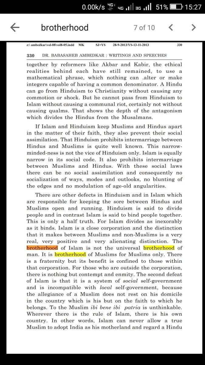 """This is true for every locality in India, where they become majority. Others are often scared to visit such areas. No less than Dr B R Ambedkar said, """"The brotherhood of Islam is not the universal brotherhood of man. It is brotherhood of Muslims for Muslims only."""" @csptwitpic.twitter.com/oOsAvE0mml"""