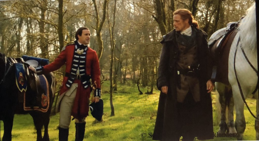 """@Courtilini14 @madblackmother @DrkKnightingale @OutLandAnatomy Oops forgot hash tags, sorry! I agree w/Antoinette about Lt. Knox, he was taking """"the measure of the man"""" when riding w/Jamie(a bromance developing?) then Jamie sees his rash action killing the regulator,now I'm wondering how that relationship will develop! 🤔 #BTS502 #Outlander"""