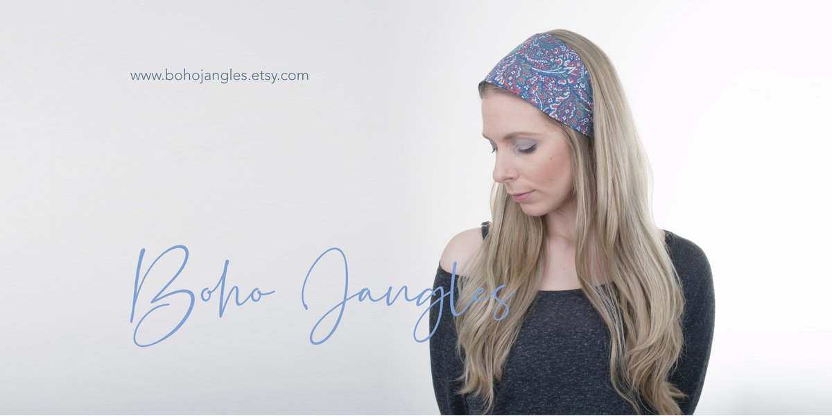 Pretty lawn print floral headwraps, including this cute Dusty Floral blue. Super easy to wear for everyday boho styling > #handmade #hair #epiconetsy   #handmade #hair #epiconetsy #ootd #bohemian #bohochic #hippie #fashion #look #beauty #hairstyles