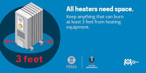 Heating is the second leading cause of home fires. Remember to always turn space heaters off when leaving the room or going to bed. #WednesdayWisdom <br>http://pic.twitter.com/SWtUFbwx61