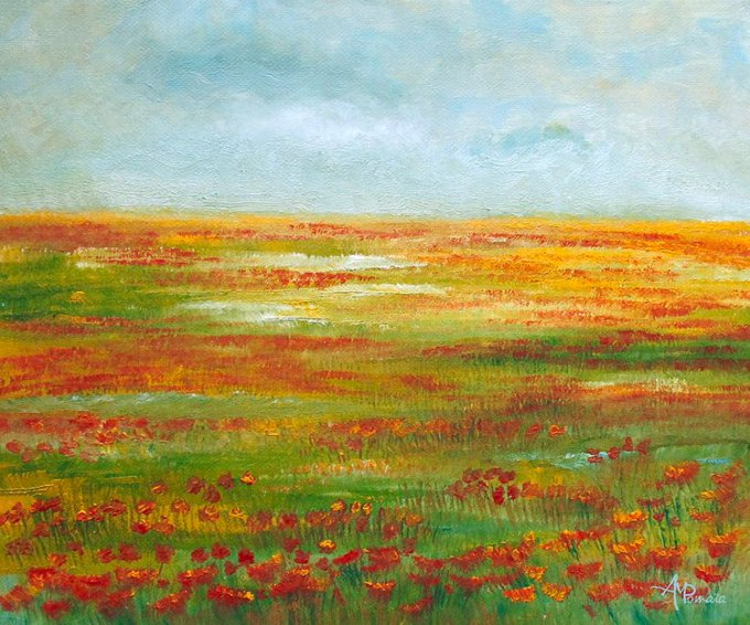 This is my painting Solarized. You can check it out here: fineartamerica.com/featured/solar… #art #arte #artlovers #kunst #искусство #艺术 #アート #oilpainting #contemporaryart #ArtistOnTwitter #landscape #field #fields #flowers #poppies #repost