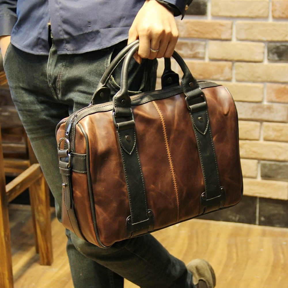 #moda #steampunk #shopping Men's Crazy Horse Style Eco-Leather Briefcase