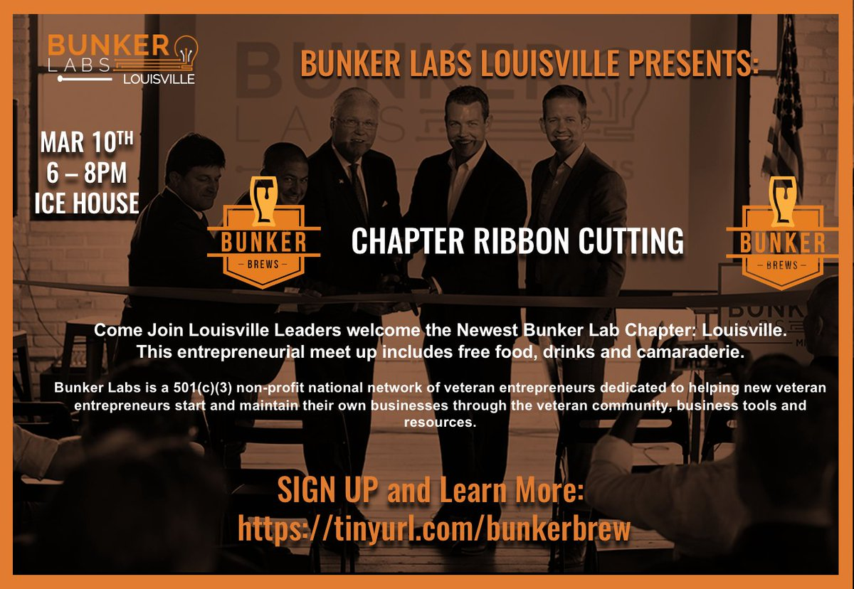 Hope you can join us on March 10 at our Chapter Ribbon Cutting BunkerBrew https://buff.ly/39QyuNQ #BunkerLabs #veteranowned #milspouse #military #veterancommunity #vetbiz #veteran #donate #npo #nonprofit #changelives #businessresources #veteranresourcespic.twitter.com/R5mQPYSqwP