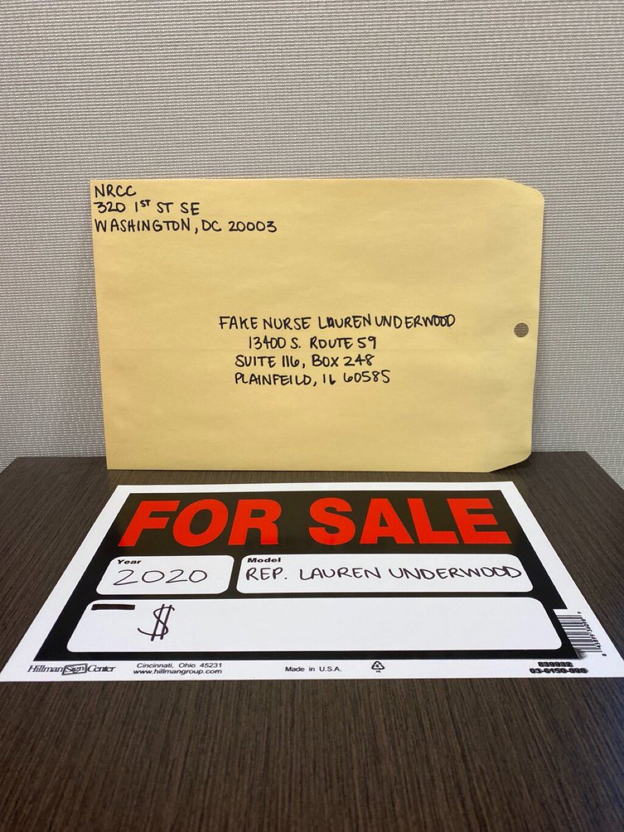 """The National Republican Congressional Committee mailed a black congresswoman a """"For Sale"""" sign with her name on it. https://twitter.com/carlyatch/status/1232765966666391553…"""
