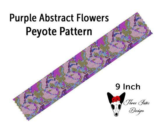 Seed Bead Bracelet Pattern, Abstract Purple Flowers, Two Drop Even Count Peyote Beadwork Tutorial   #abstract #seedbeads #bracelet #patterns #etsystore #threefatesdesign