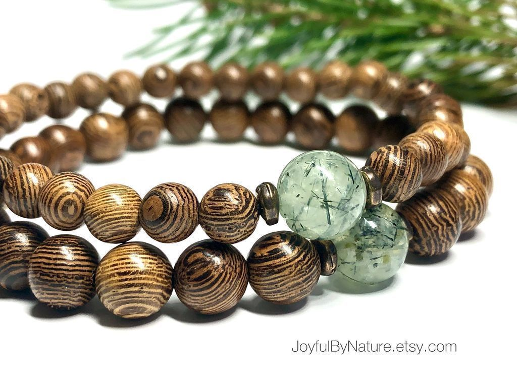 🌲Inspired by a walk in the woods—prehnite gemstone with natural wenge wood. HANDMADE and custom-sized. Free US and discounted int'l. shipping.  #etsymntt #bracelet #naturelover #gift #menswear #trees