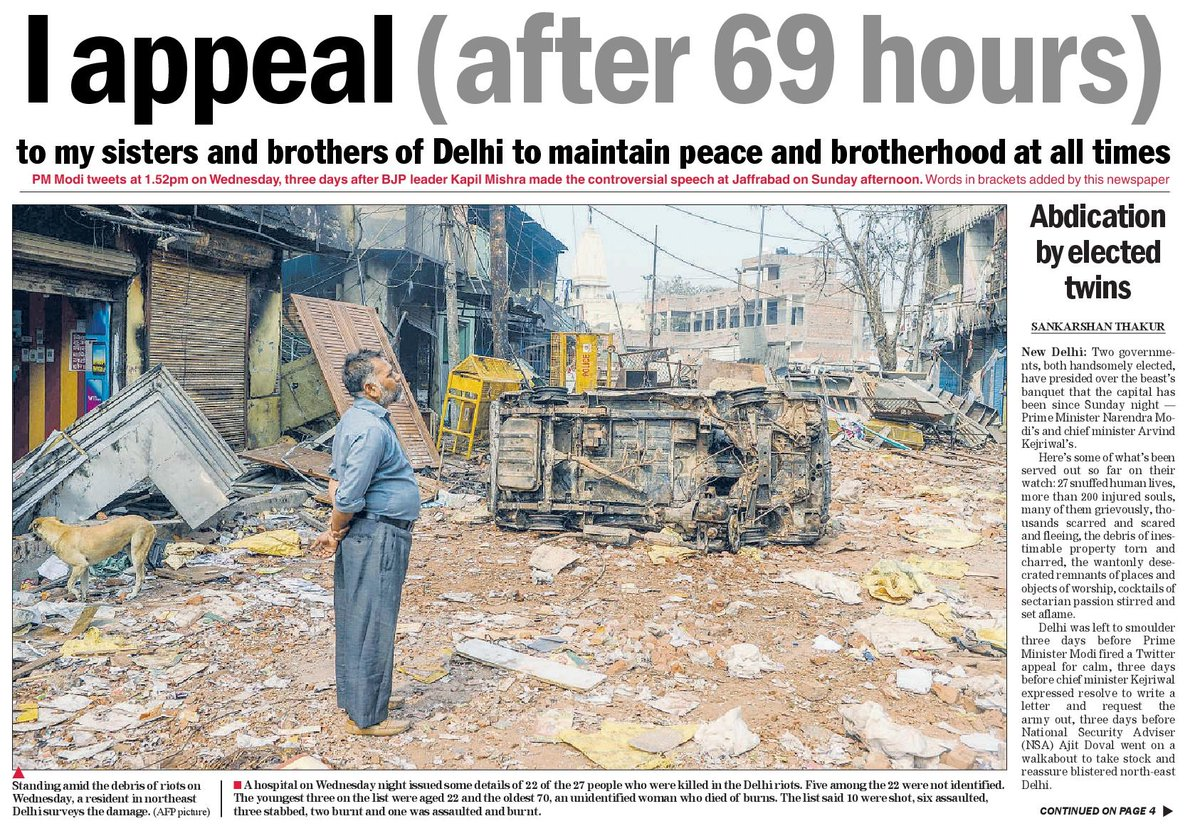 The Telegraph calls out Modi's appeal for calm, which is too little & too late. There is a striking similarity with 2002 Gujarat. <br>http://pic.twitter.com/5VQyFcdgt9