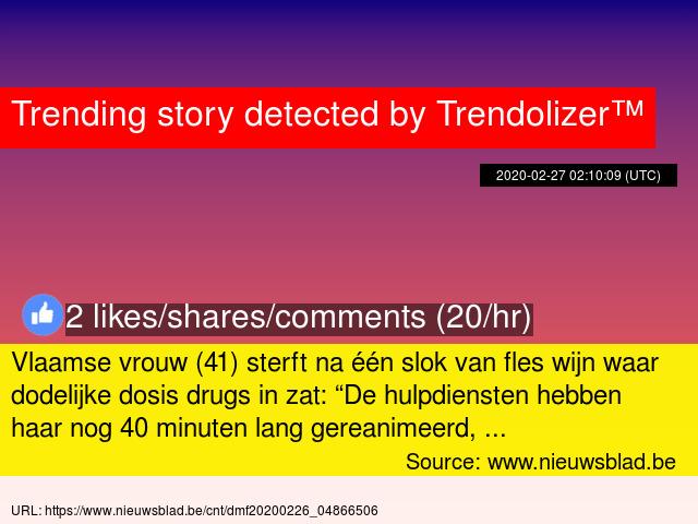 """Vlaamse vrouw (41) sterft na één slok van fles wijn waar dodelijke dosis drugs in zat: """"De hulpdiensten... http://vlaamsemedia.trendolizer.com/2020/02/vlaamse-vrouw-41-sterft-na-n-slok-van-fles-wijn-waar-dodelijke-dosis-drugs-in-zat-de-hulpdiensten-he.html…pic.twitter.com/YtJFB0Mml2"""