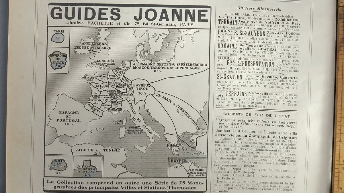 Travel map of Europe to advertise GUIDES JOANNE, Librairie Hachette et cie, 79, bd St-Germain, Paris. Original Antique French print from 1909. $6 #travel #Europe