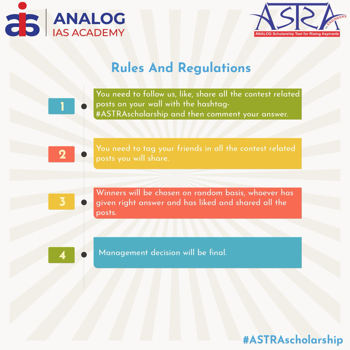 Join ASTRA Trivia #Contest & win Amazon Vouchers worth INR 3000. #Rules and regulations for ASTRA Trivia Contest are as follows.  Do follow us, RT and invite your friends to participate.  #ContestAlert #AnalogIAS #ASTRAscholarship