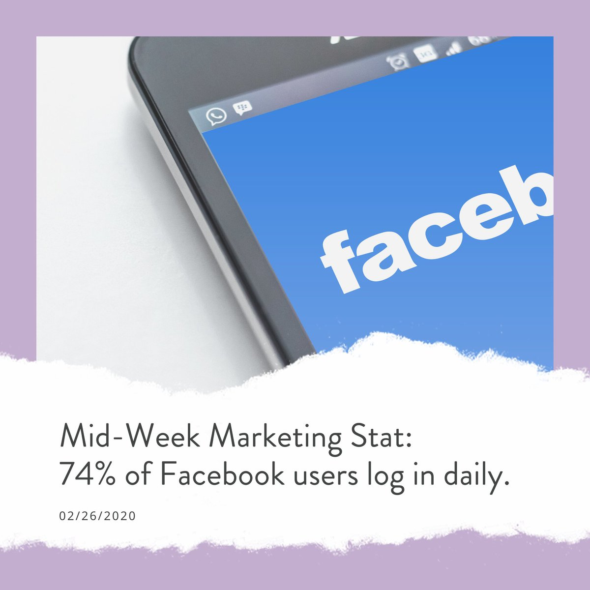 Mid-Week Marketing Stat 74% of Facebook users log in daily. (Hootsuite, 2020)⎜#HappyMarketing #emptydesksolutionspic.twitter.com/maOLc1G2ie