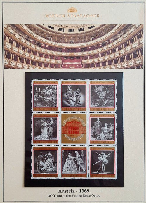 My album page for this Austrian set honoring 100 years of the Vienna State Opera, featuring scenes from various operas and ballet. #philately #stampcollection #briefmarken #philatelie<br>http://pic.twitter.com/q3k8sNszvA