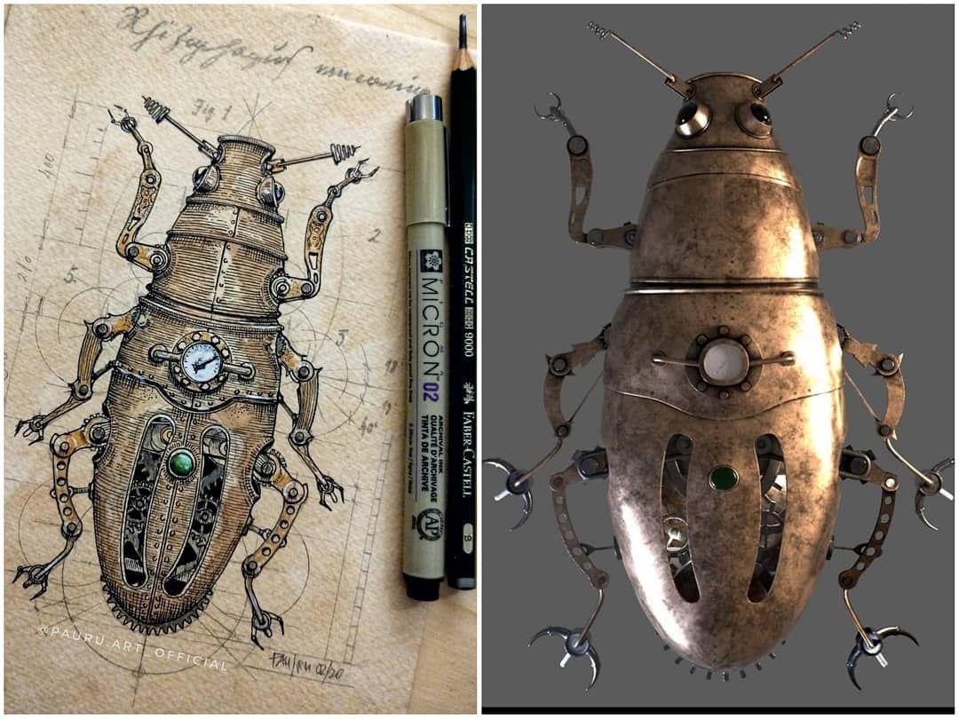 "#Inspiration>> #Regram  #Follow>> Showcasing #Artwork by @pauru.art_official: Caption: ""When your drawing is a base for a 3D-model...! Gracias Diego! @diego.ga.14"" #steampunkart #steampunk #steampunkcreature #mechanimal #mechanicanimal  AuthorZine>> https://t.co/qO7Tzfr0ih"