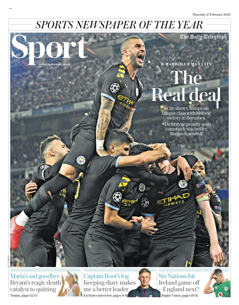 TELEGRAPH SPORT: The Real Deal #TomorrowsPapersToday