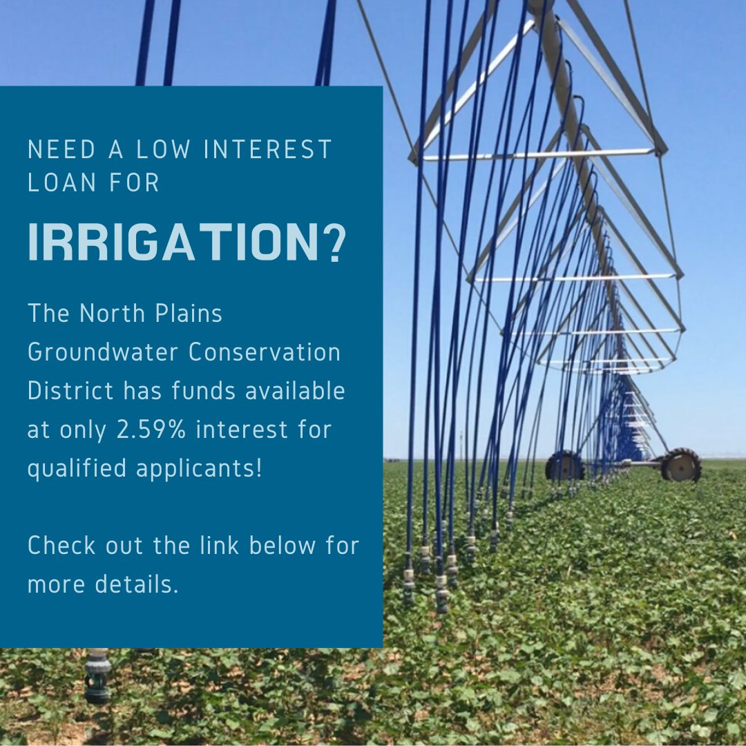 The North Plains Groundwater Conservation District has funds available at only 2.59% interest for qualified applicants!  Check out the link below for more details. http://ow.ly/WYJM50ypID6pic.twitter.com/Q8BGDr9XTl