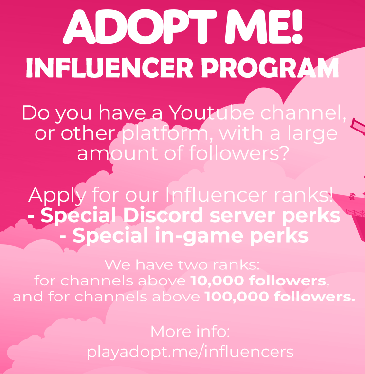 Adopt Me On Twitter Introducing Adopt Me Influencer Program