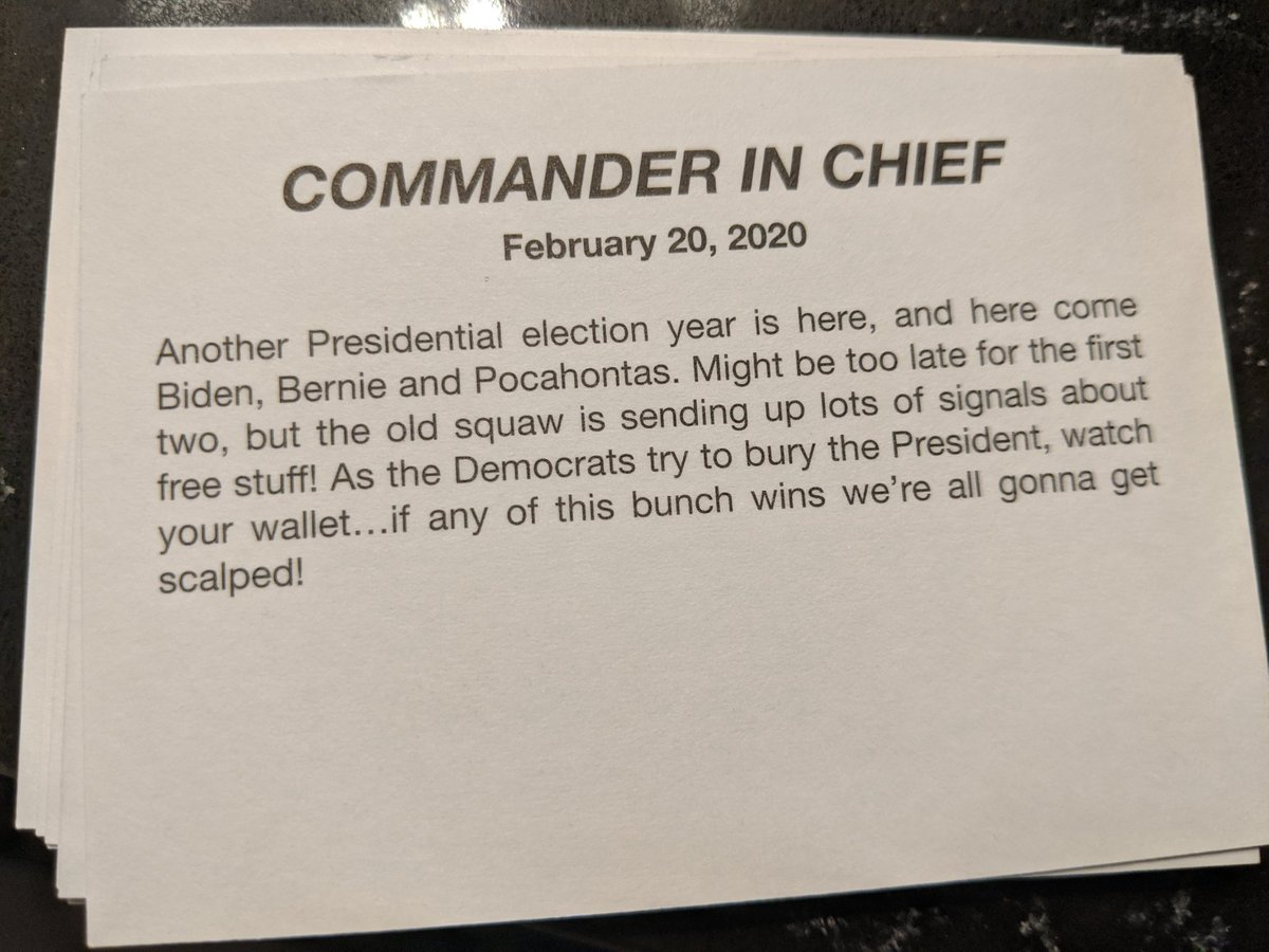 (in case you were wondering, yes, the back of the 'commander in chief' card is basically all racist jokes)