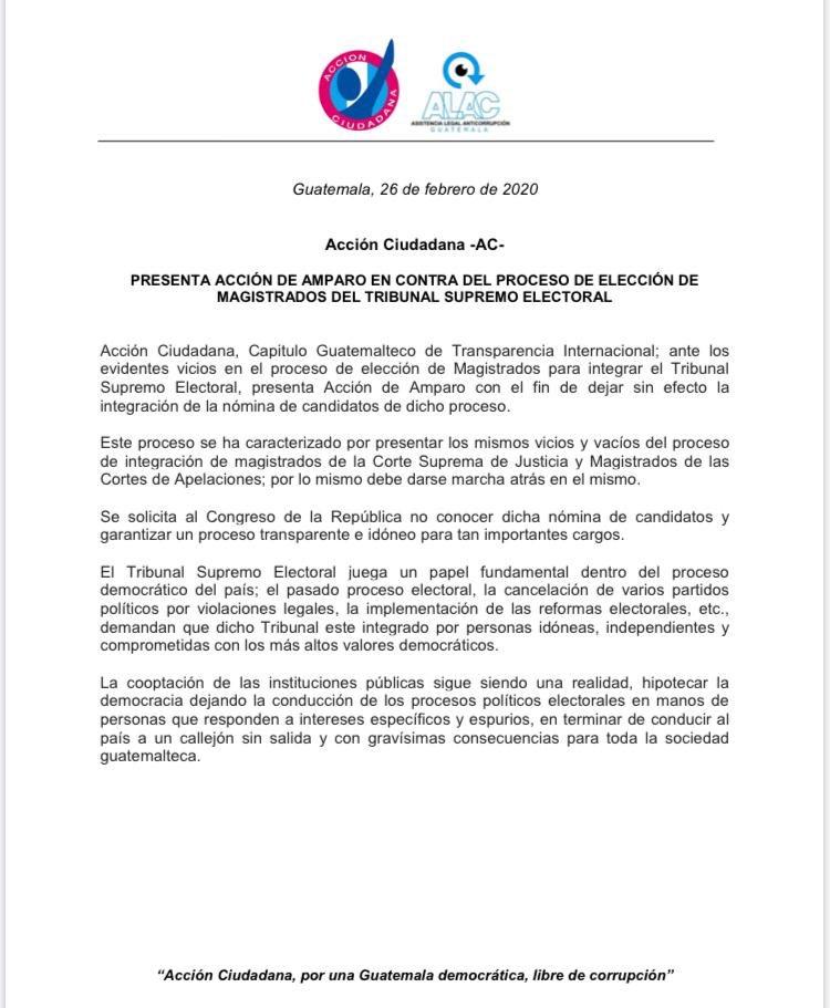 test Twitter Media - #AHORA Acción Ciudadana presenta amparo contra el proceso de elección de magistrados del Tribunal Supremo Electoral. https://t.co/f35TpIi6BP