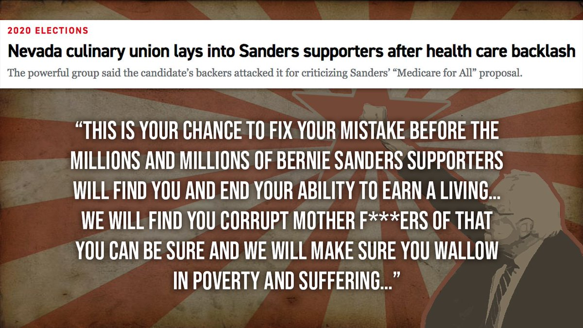 There is NO ROOM in a revolutionary movement to disagree. Just look at how the Bernie Bros attacked the Nevada Culinary Union for refusing to support Medicare for All.  #BerniesRadicals  https:// bit.ly/3c8GWK9     <br>http://pic.twitter.com/Cz0ScnXaW4