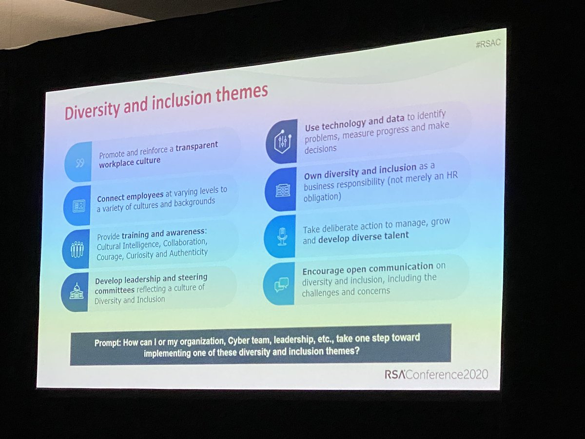 How can you build cross cultural connections in your security team? #cyberdiversity #browncyber #RSAC2020<br>http://pic.twitter.com/Af40MXlBQR