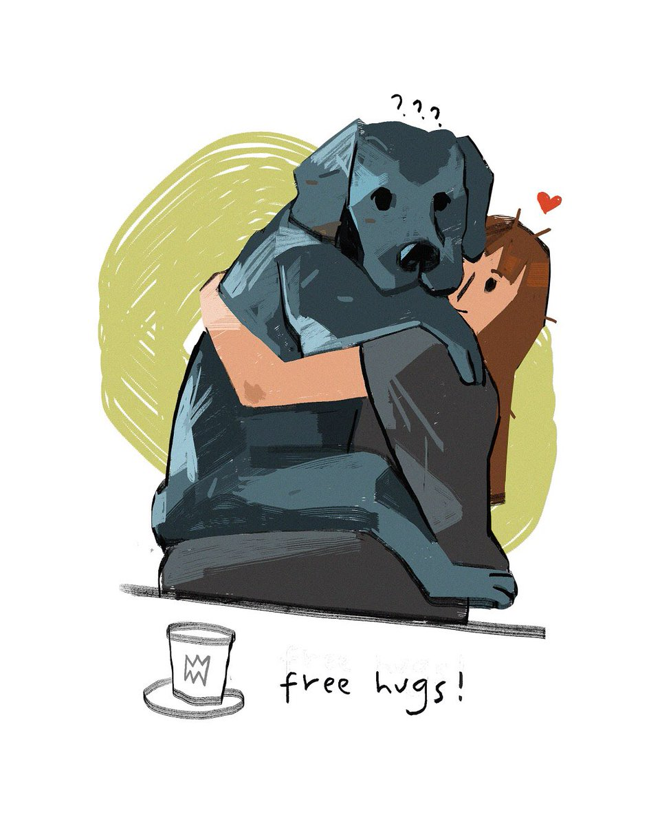 Free Hugs!⠀  #illustration #digitalart #freehugs #doggo #redditgetsdrawn #color #practice