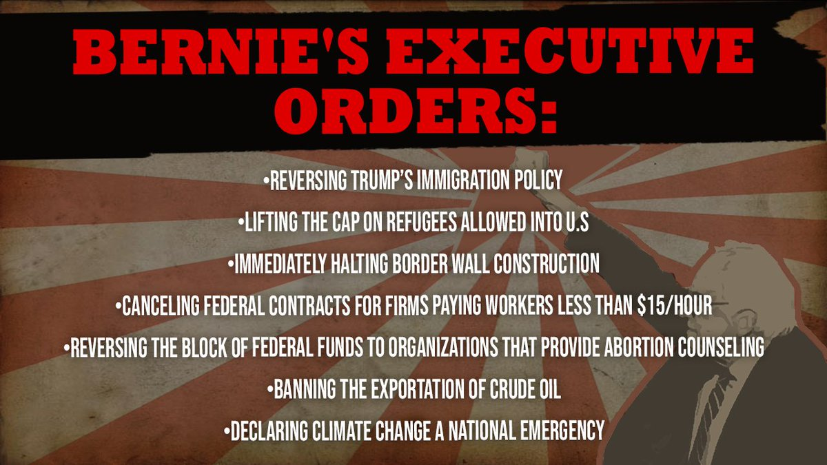 If you think the Constitution and separation of powers will save America from Sanders' dismantling, remember the secret weapon of the presidency – the Executive Order. And Team Bernie is just fine sidestepping Congress.  #BerniesRadicals  https:// wapo.st/2uxY8YC     <br>http://pic.twitter.com/RgQiDTDqLs