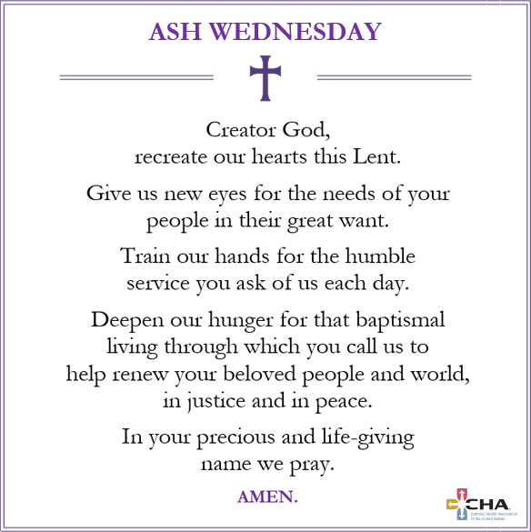 Give us new eyes for the needs of your people in their great want.Train our hands for the humble service you ask of us each day.Deepen our hunger for that baptismal living through which you call us to help renew your beloved people & world, in justice & in peace. #AshWednesday