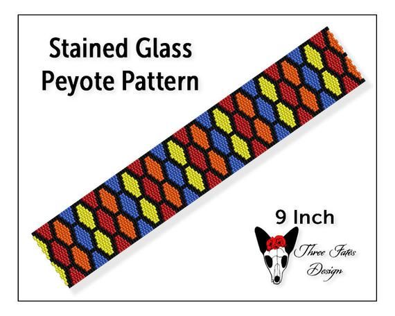 Seed Bead Bracelet Pattern, Stained Glass, Two Drop Odd Count Peyote Beadwork Tutorial, Beaded Bookmark Pattern   #stainedglass #seedbeads #bracelet #patterns #threefatesdesign #etsyshop