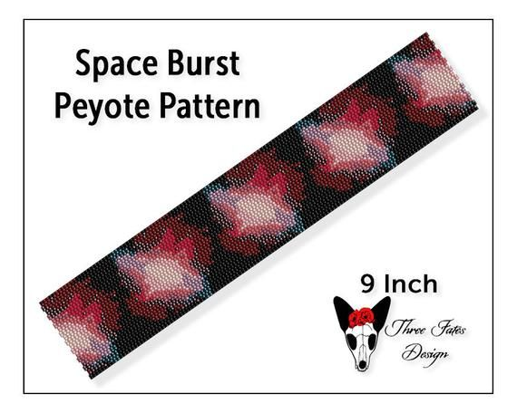Seed Bead Bracelet Pattern, Space Burst, Two Drop Even Count Peyote Beadwork Tutorial, Beaded Bookmark Pattern   #space #beadwork #bracelet #patterns #etsystore #threefatesdeign