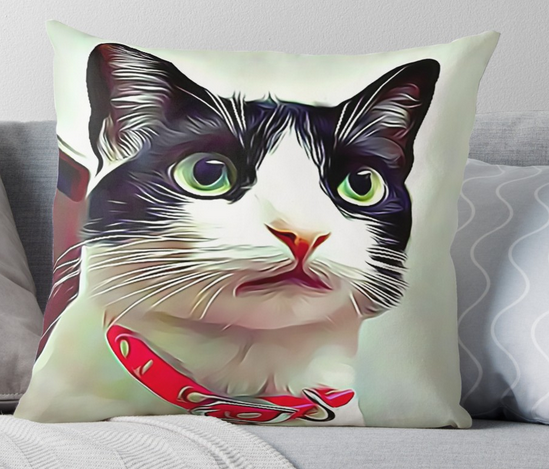 #Tuxedo #Cat #Artwork Printed Front & Back on a Throw #Pillow The covers have hidden zipper closures, and are totally washable, Choice of Cover & insert or Cover Only, Sizes Available 16x16, 18x18, 20x20, 24x24, 26x26 & 36x36