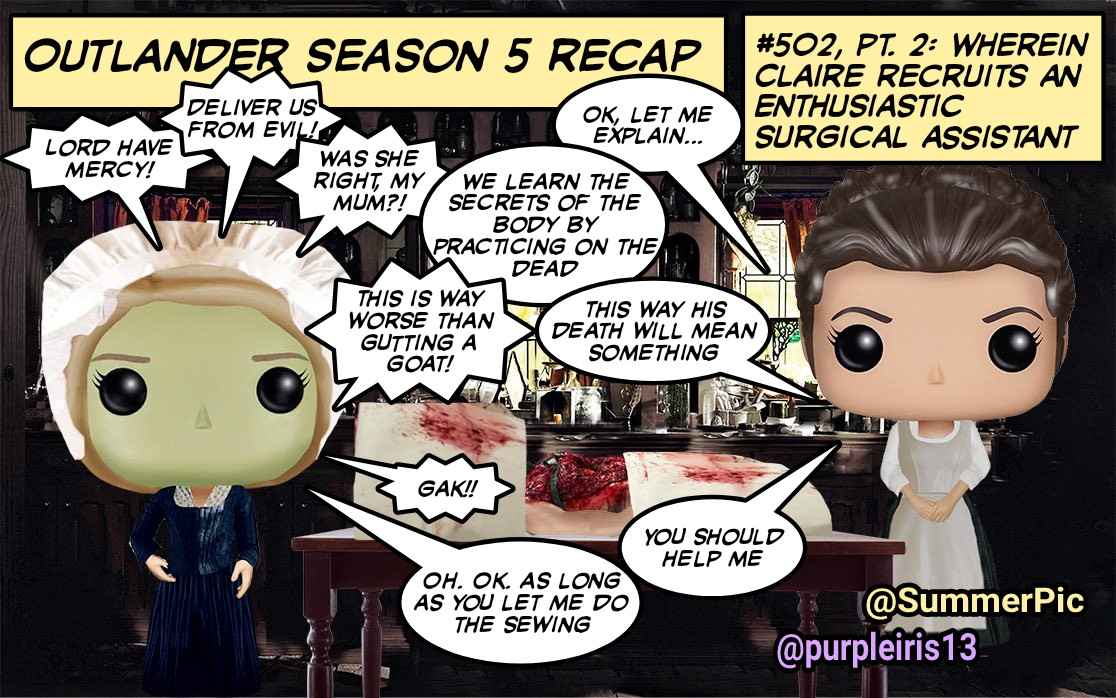 ⭐Episode 502 Part 2:⭐  😳Holy Cadavers, Batman😩 Claire goes into full-on Doc Fraser mode, fakes a burial, & gives zero forks about messing with the future. Marsali graduates from butchering farm animals & What Would Laoghaire Say?? 😬 #Outlander #BetweenTwoFires @SummerPic