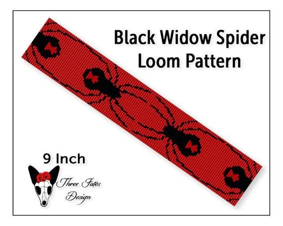 Black Widow Spider Loom Stitch Pattern, Beaded Bracelet Tutorial, Square Stitch Beadwork Bookmark, Seed Bead Cuff Pattern, Instant Download   #spider #blackwidow #threefatesdesign #etsy #beaded #bracelet #pattern