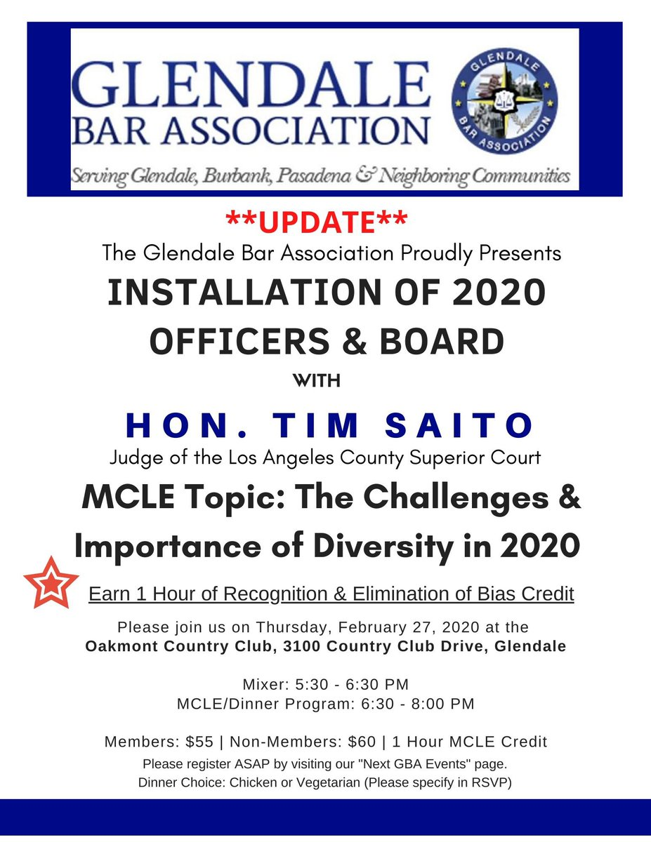 Join friends and fellow attorneys at the Glendale Bar Association for drinks and dinner at the Oakmont. Judge Tim Saito will be speaking about the Challenges and Importance of Diversity in 2020. MCLE credit eligible.  https:// glendalebar.wildapricot.org/events    <br>http://pic.twitter.com/v9SwO2zwon