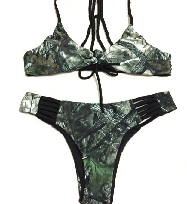 Huntress New Black Strappy Camo Bikini - Get These Before They Sell Out Again. They Sold Out In 3 Weeks Last Year!    #bikini #pink #camobikini #camo #camogirl #camochic #bathingsuits #newbikini #newtrending #trending #sale