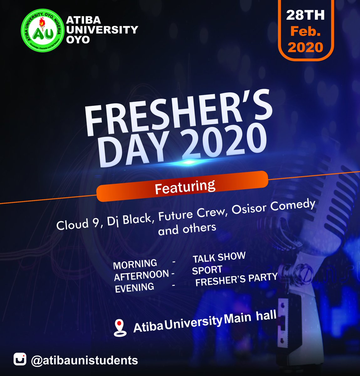 Fresher's day 2020, Atiba University oyo Exceller Media, Graphics department #excellermedia #nigeriaphotographer #graphicsdesigner #logodesigner #Deepthotsfilms #auichapel #atibaunistudents #atibauniversity @excellermedia_ceo @atibaunistudents @atibauniversity @adenijidelightpic.twitter.com/QGVaByxJv2