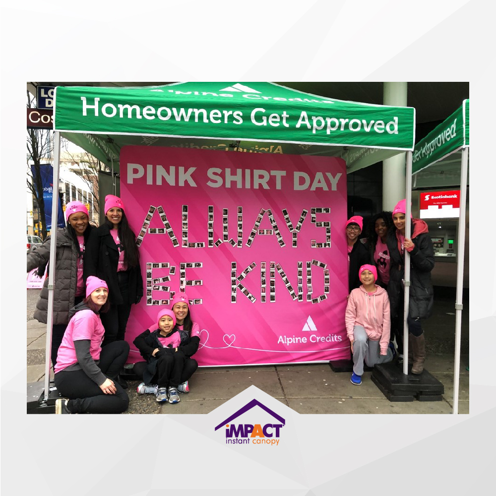 It's Pink shirt day today!   Always be kind… . . . #impactcanopy #pinkshirtday #alpinecredits #antibullying #pink #pinkshirtday2020 #saynotobullying #lifteachotherup #nobullying #canopy #backwall   Alpine Credits