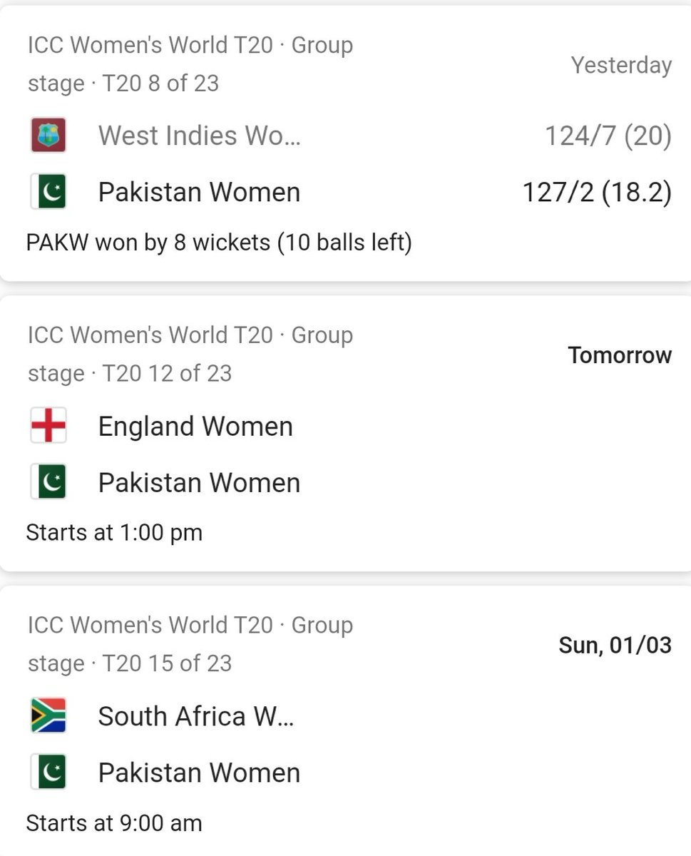 @adeel_azhar  Congratulations to Pakistan women cricket team for winning T20 vs championships WI Up coming matches r against England and south Africa  All the best #T20WC #WomenPower #Cricket #PakistanZindabad #WestIndies #SouthAfrica #England