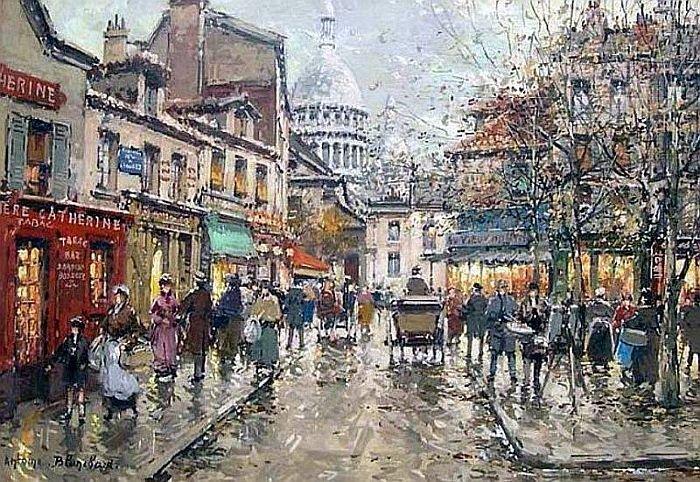 Bonjour de Paris  Antoine Blanchard   Place du Tertre    Montmartre